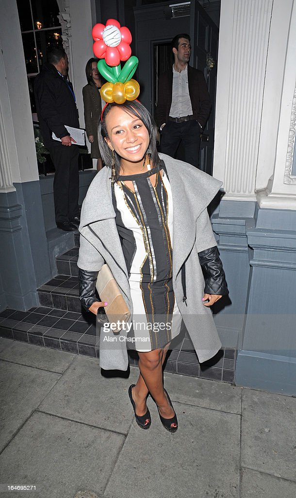 Zoe Smith sighting leaving No 3 Cromwell Road following Barry the Dog Fitness Trainer reception on March 26, 2013 in London, England.