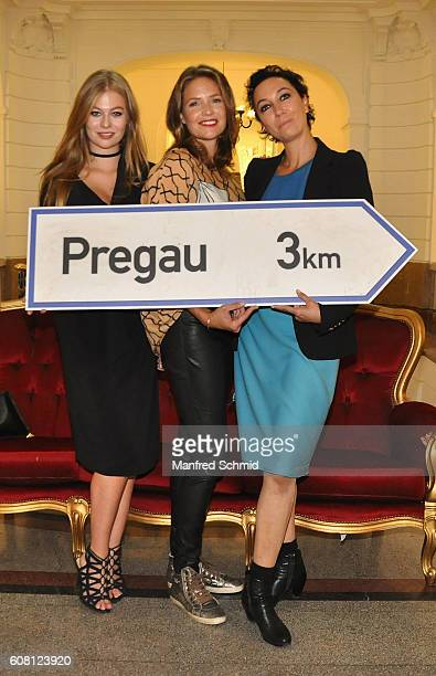 Zoe Straub Patricia Aulitzky and Ursula Strauss pose during the 'Pregau Kein Weg Zurueck' Vienna presentation at Albert Hall on September 19 2016 in...