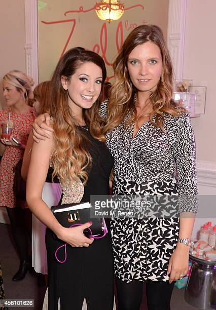 Zoe Sugg and Ruth Crilly attend YouTube phenomenon Zoe Sugg's launch of her debut beauty collection at 41 Portland Place on September 25 2014 in...