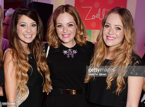 Zoe Sugg Lucy and Lydia Connell attend YouTube phenomenon Zoe Sugg's launch of her debut beauty collection at 41 Portland Place on September 25 2014...