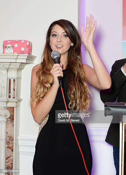 Zoe Sugg speaks at the launch of her debut beauty collection at 41 Portland Place on September 25 2014 in London England