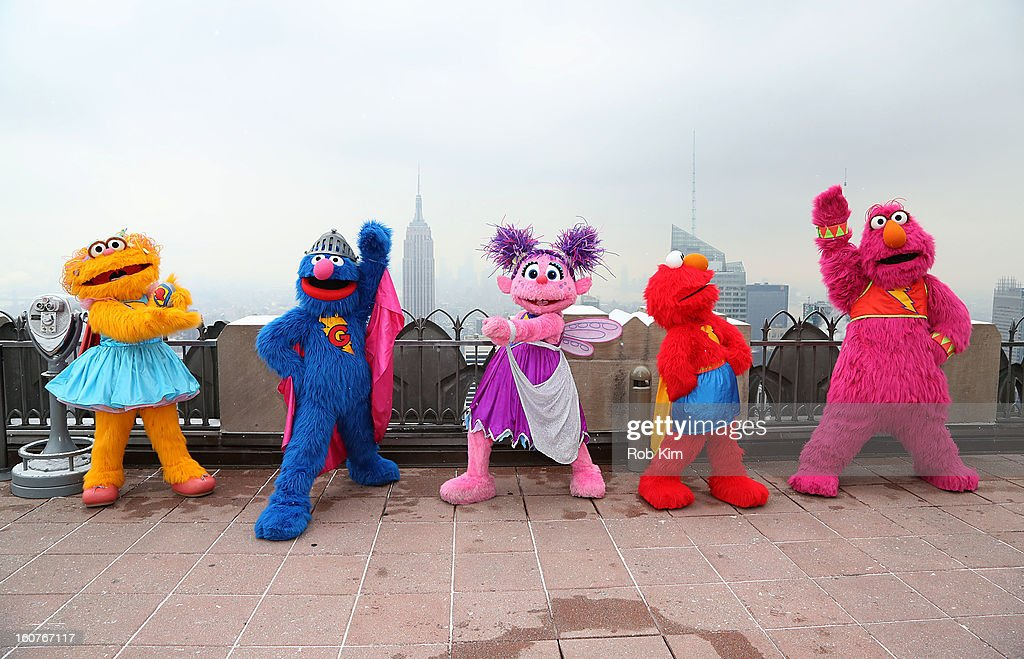Zoe, Super Grover, Abby Cadabby, Elmo and Telly visit the Top of the Rock Observation Deck at Rockefeller Center on February 5, 2013 in New York City.