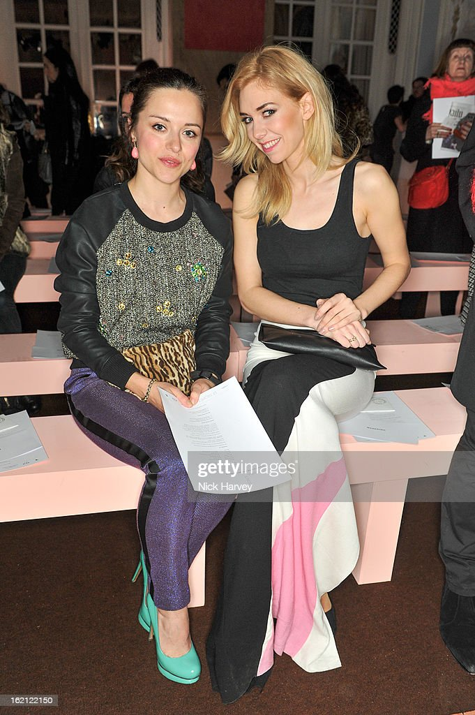 Zoe Tapper and <a gi-track='captionPersonalityLinkClicked' href=/galleries/search?phrase=Vanessa+Kirby&family=editorial&specificpeople=8282131 ng-click='$event.stopPropagation()'>Vanessa Kirby</a> attend the Roksanda Ilincic show during London Fashion Week Fall/Winter 2013/14 at on February 19, 2013 in London, England.