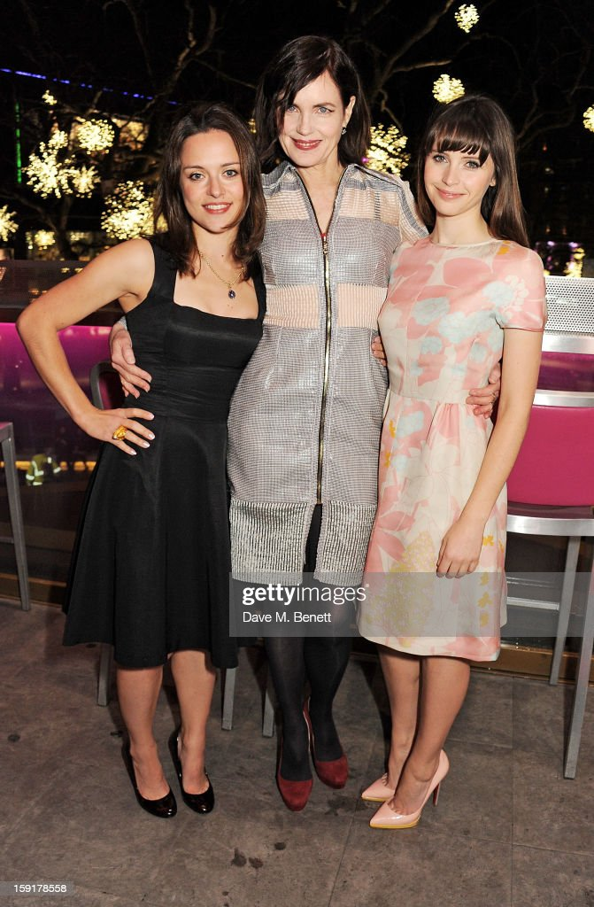 Zoe Tapper, <a gi-track='captionPersonalityLinkClicked' href=/galleries/search?phrase=Elizabeth+McGovern&family=editorial&specificpeople=734460 ng-click='$event.stopPropagation()'>Elizabeth McGovern</a> and <a gi-track='captionPersonalityLinkClicked' href=/galleries/search?phrase=Felicity+Jones&family=editorial&specificpeople=5128418 ng-click='$event.stopPropagation()'>Felicity Jones</a> attend a Gala Screening of 'Cheerful Weather For The Wedding' at the Empire Leicester Square on January 9, 2013 in London, England.