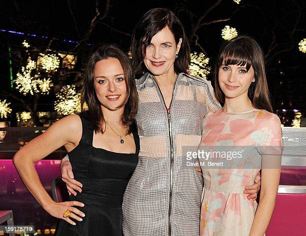 Zoe Tapper Elizabeth McGovern and Felicity Jones attend a Gala Screening of 'Cheerful Weather For The Wedding' at the Empire Leicester Square on...