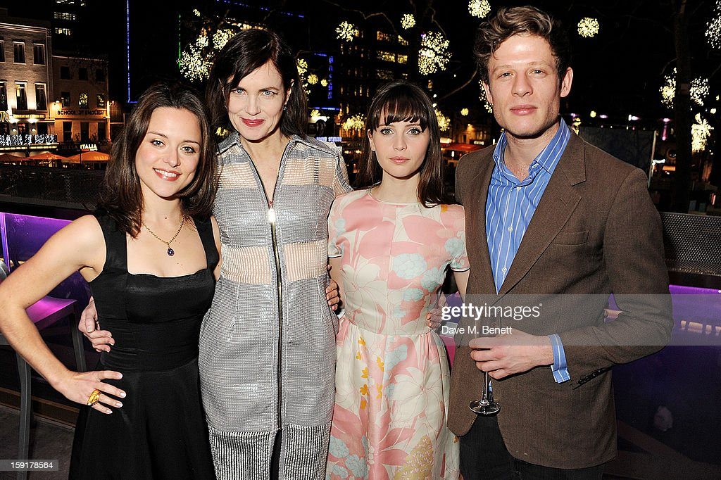 Zoe Tapper, <a gi-track='captionPersonalityLinkClicked' href=/galleries/search?phrase=Elizabeth+McGovern&family=editorial&specificpeople=734460 ng-click='$event.stopPropagation()'>Elizabeth McGovern</a>, <a gi-track='captionPersonalityLinkClicked' href=/galleries/search?phrase=Felicity+Jones&family=editorial&specificpeople=5128418 ng-click='$event.stopPropagation()'>Felicity Jones</a> and James Norton attend a Gala Screening of 'Cheerful Weather For The Wedding' at the Empire Leicester Square on January 9, 2013 in London, England.