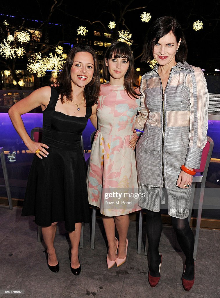 Zoe Tapper, <a gi-track='captionPersonalityLinkClicked' href=/galleries/search?phrase=Felicity+Jones&family=editorial&specificpeople=5128418 ng-click='$event.stopPropagation()'>Felicity Jones</a> and <a gi-track='captionPersonalityLinkClicked' href=/galleries/search?phrase=Elizabeth+McGovern&family=editorial&specificpeople=734460 ng-click='$event.stopPropagation()'>Elizabeth McGovern</a> attend a Gala Screening of 'Cheerful Weather For The Wedding' at the Empire Leicester Square on January 9, 2013 in London, England.