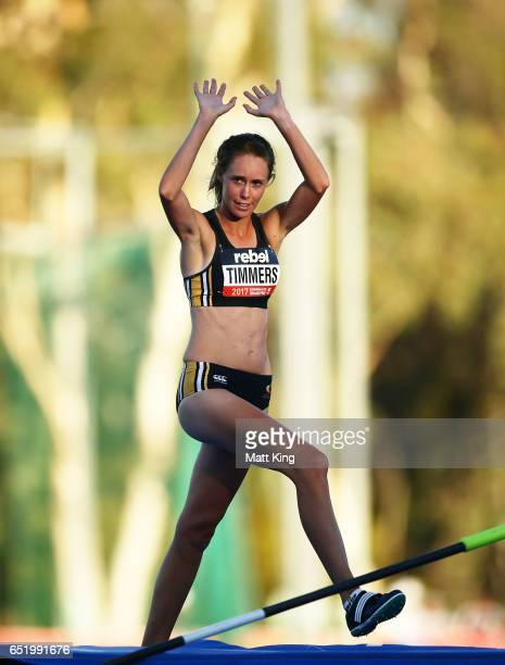 Zoe Timmers of WA celebrates after her last jump in the Women's High Jump during the SUMMERofATHS Grand Prix on March 11 2017 in Canberra Australia