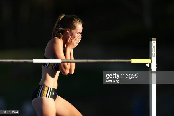 Zoe Timmers of WA celebrates after her winning jump in the Women's High Jump during the SUMMERofATHS Grand Prix on March 11 2017 in Canberra Australia
