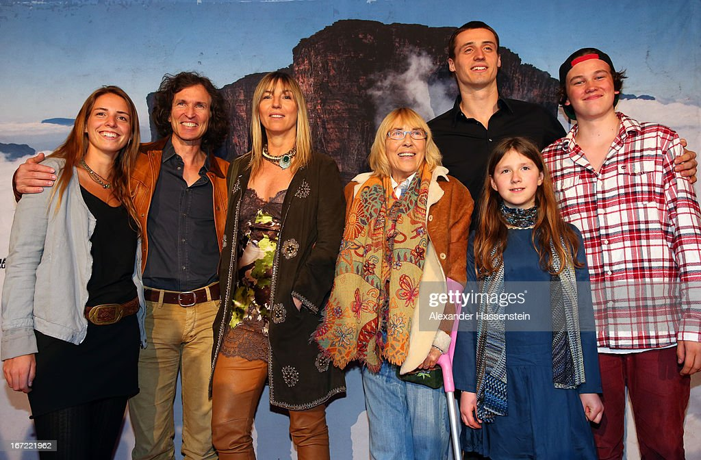 Zoe Valerien, Stefan Glowacz, Tanja Valerien-Glowacz, Randi Valerien, Malo Valerien, Julie Valerien and Ben Glowacz attend the 'Jaeger des Augenblicks' World premiere at City Kino on April 22, 2013 in Munich, Germany. The adventure movie with climbing star Stefan Glowacz starts on April 25, 2013 in cinemas across Germany.