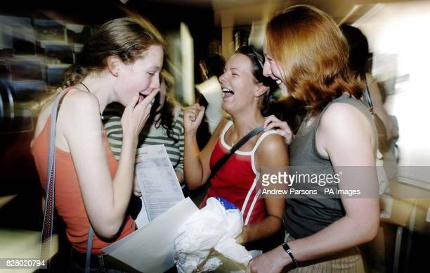 Zoe Wright Charlie Letton and Suzanne Rilley all aged 18 and from Colchester get their ALevel results at Colchester County High School for Girls as...