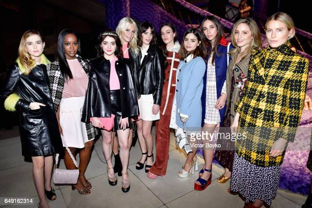 Zoey Deutch Aja Naomi King Maisie Williams Poppy Delevingne Hailey Gates Jenna Coleman Rebecca Dayan Dianna Agron and Dree Hemingway attend the Miu...