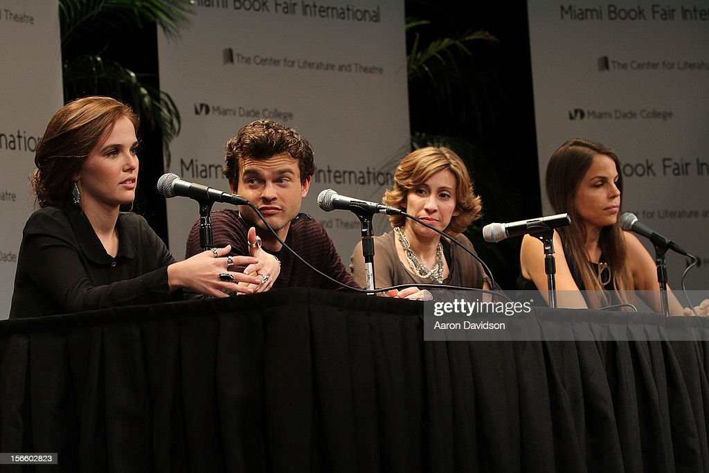 Zoey Deutch, Alden Ehrenreich, Kami Garcia, and Margaret Stohl attend Warner Bros. 'Beautiful Creatures' Authors And Cast At Miami Book Fair on November 17, 2012 in Miami, Florida.