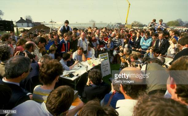 Zola Budd of South Africa at a press conference after her first race in Great Britain in Crawley England Mandatory Credit Allsport UK /Allsport