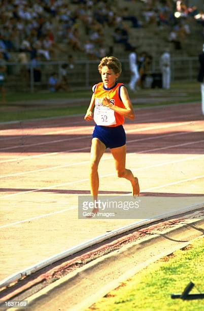 Zola Budd of South Africa in action during a 3000 metres event during an Athletics meeting in South Africa Mandatory Credit Allsport UK /Allsport