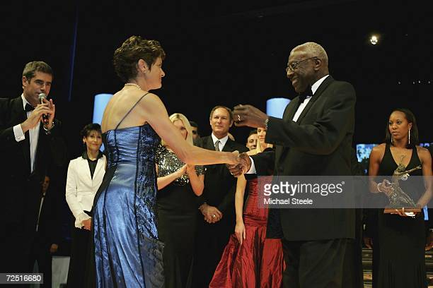Zola Budd of South Africa is invited on stage by Lamine Diack President of the IAAF in a gesture of reconcilliation after Diack refused to present...