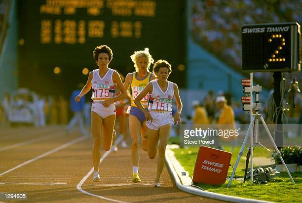 Zola Budd of Great Britain leads from Maricica Puica of Romania and Wendy Sly of Great Britain with two laps to go during the Womens 3000 metres...