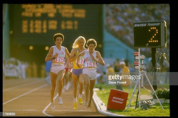 Zola Budd runs in a race during the Summer Olympics in Los Angeles California