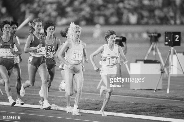 Zola Budd the bare footed runner from South Africa now running for Great Britain runs in the third heat of the women's 3000 meter run at the Olympics...