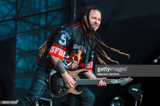 Zoltan Bathory member of the band Five Finger Death Punch performs live on stage at Autodromo de Interlagos on May 13 2017 in Sao Paulo Brazil