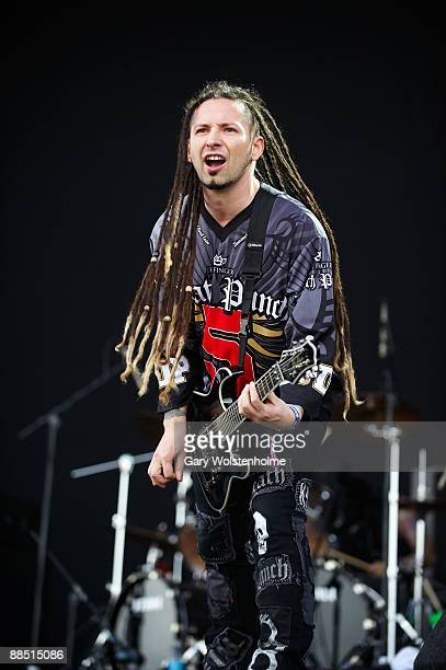 Zoltan Bathory of Five Finger Death Punch perform on stage on day 1 of Download Festival at Donington Park on June 12 2009 in Donington England