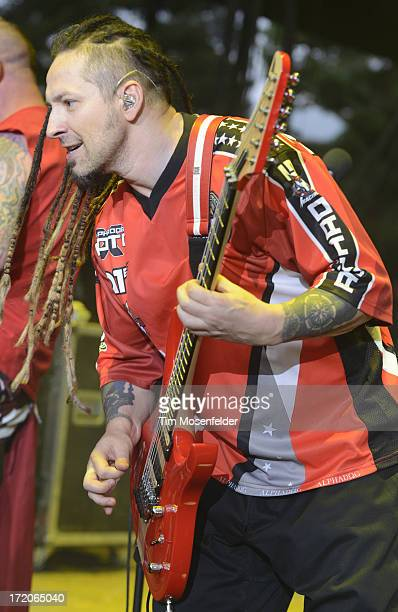 Zoltan Bathory of Five Finger Death Punch performs as part of the Rockstar Energy Drink Mayhem Festival at Shoreline Amphitheatre on June 30 2013 in...
