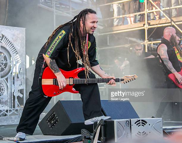 Zoltan Bathory of Five Finger Death Punch performs during 2014 Rock On The Range at Columbus Crew Stadium on May 18 2014 in Columbus Ohio