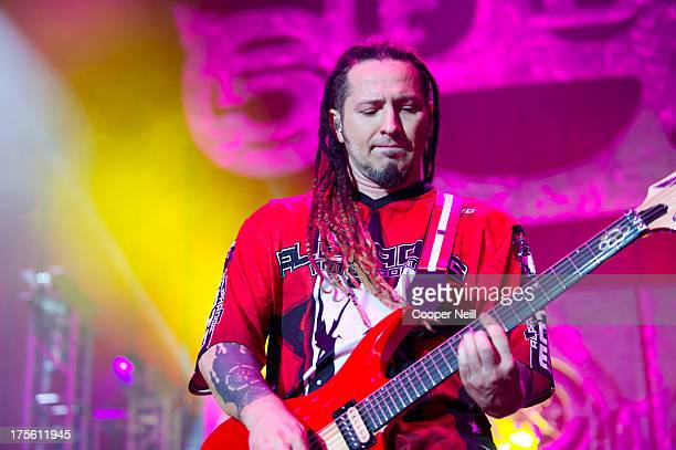Zoltan Bathory of Five Finger Death Punch performs during the 2013 Rockstar Energy Drink Mayhem Festival at Gexa Energy Pavilion on August 4 2013 in...
