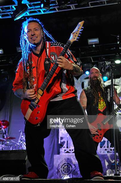 Zoltan Bathory of Five Finger Death Punch performs during the 2014 Louder Than Life Festival at Champions Park on October 5 2014 in Louisville...