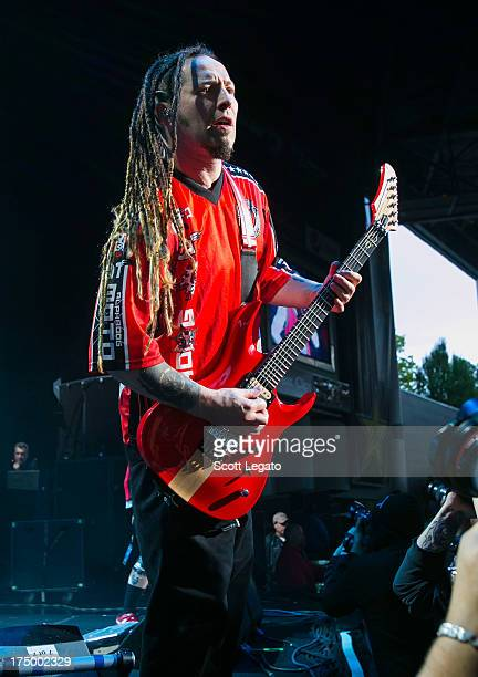 Zoltan Bathory of Five Finger Death Punch performs during the Rockstar Energy Drink Mayhem Festival at the DTE Energy Music Theater on July 28 2013...