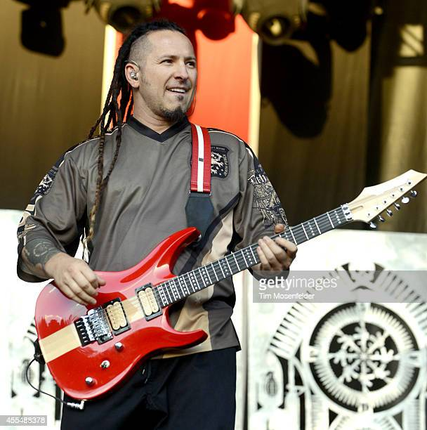 Zoltan Bathory of Five Finger Death Punch performs during the Monster Energy Aftershock Music Festival at Discovery Park on September 14 2014 in...
