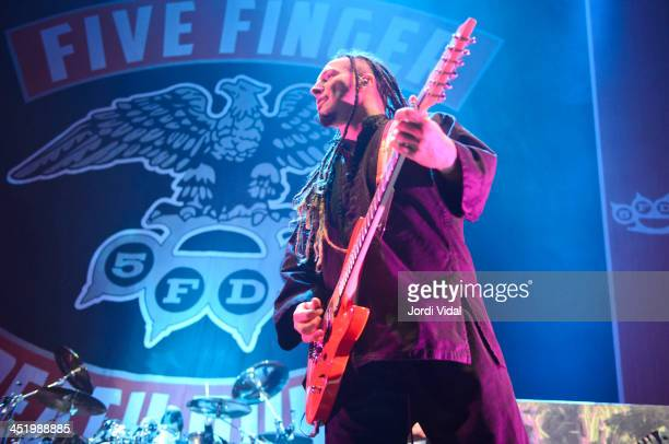 Zoltan Bathory of Five Finger Death Punch performs on stage at Pavello Olimpic on November 25 2013 in Badalona Spain