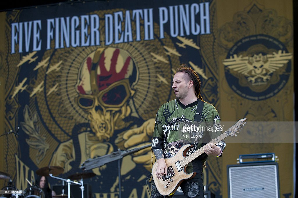 Zoltan Bathory of Five Finger Death Punch performs on stage on the second day of the Download Festival at Donington Park on June 12, 2010 in Castle Donington, England.