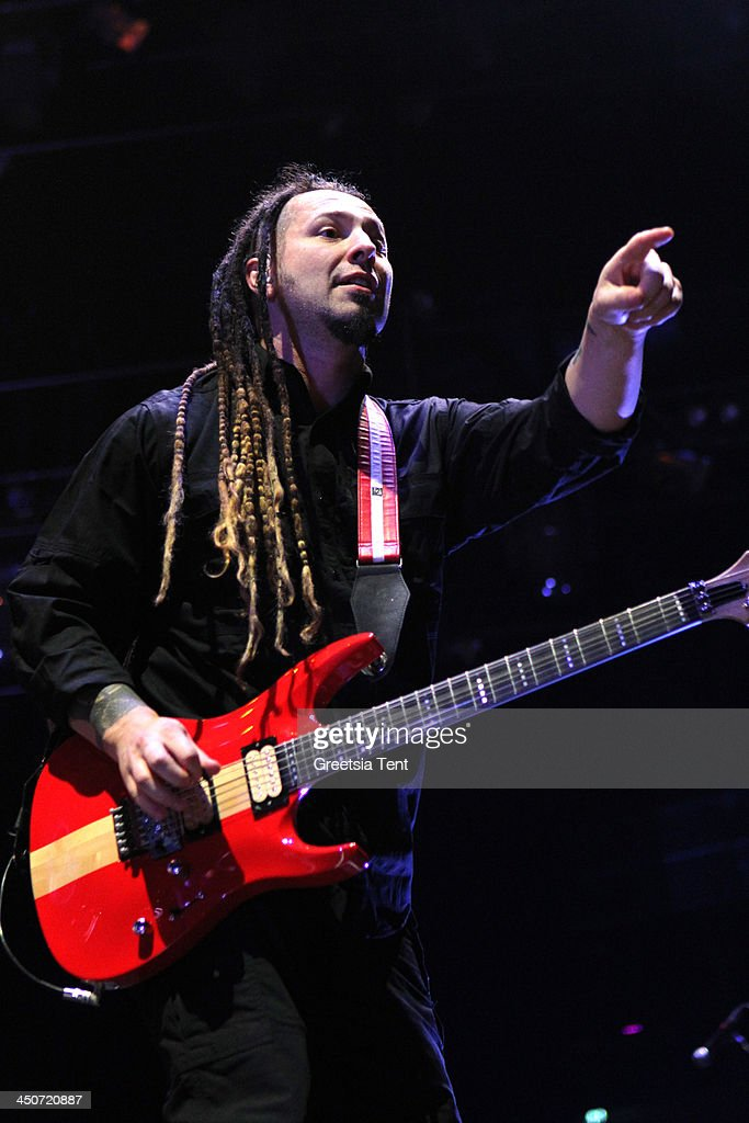 Zoltan Bathory of Five Finger Death Punch performs supporting Avenged Sevenfold at the Ziggo Dome on November 19, 2013 in Amsterdam, Netherlands.