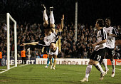 Zoltan Gera of Fulham celebrates scoring his penalty during the UEFA Europa League Round of 16 second leg match between Fulham and Juventus at Craven...