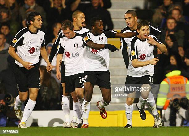 Zoltan Gera of Fulham celebrates with team mates as he scores their first goal during the UEFA Europa League Group H match between Fulham and CSKA...