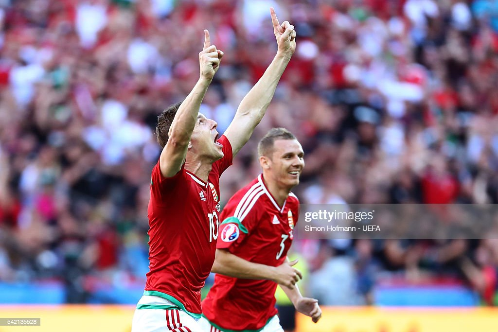 Zoltan Gera (L) of Hungary celebrates scoring his team's first goal during the UEFA EURO 2016 Group F match between Hungary and Portugal at Stade des Lumieres on June 22, 2016 in Lyon, France.