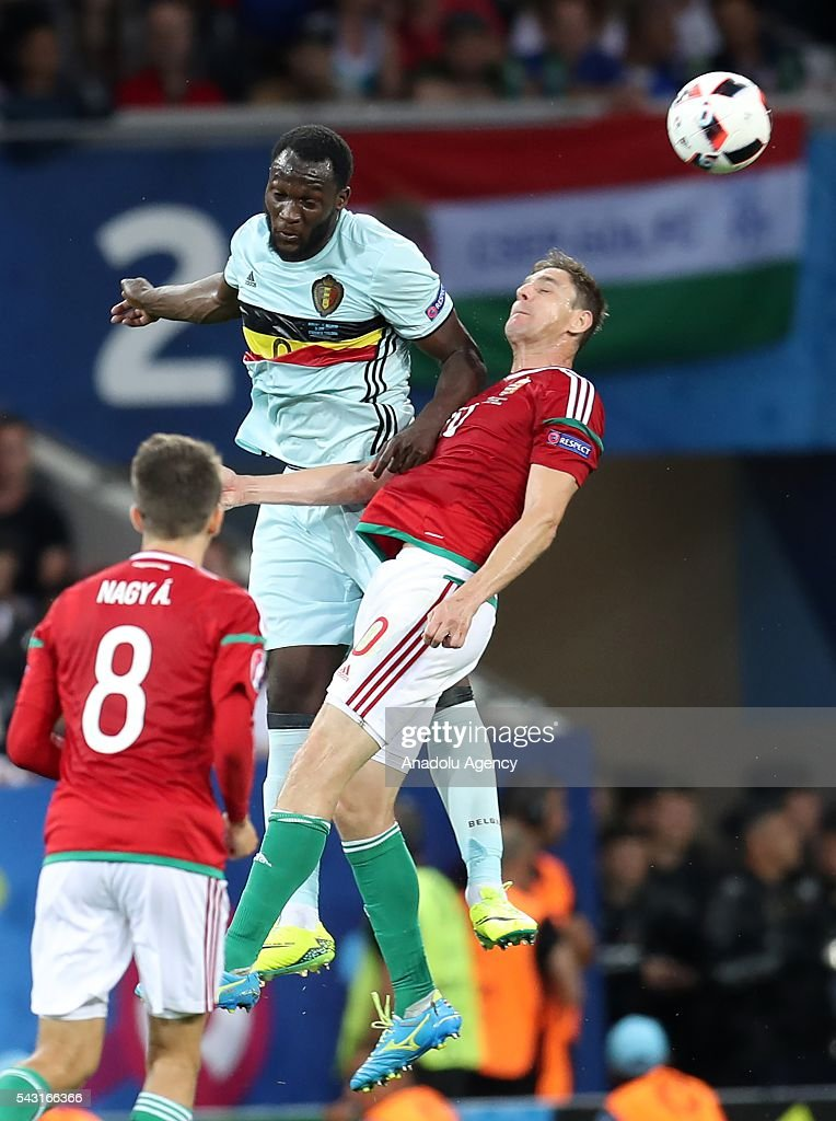 Zoltan Gera (R) of Hungary in action against Romelu Lukaku (L) of Belgium during the UEFA Euro 2016 round of 16 football match between Hungary and Belgium at Stadium Municipal in Toulouse, France on June 26, 2016.