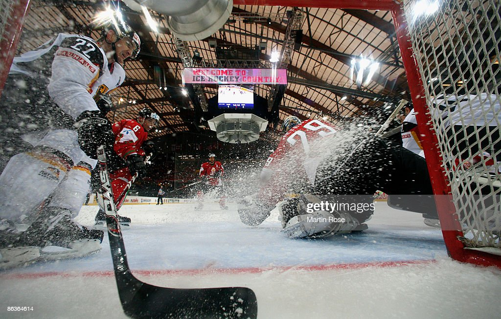 Zoltan Hetenyi goalkeeper of Hungary saves the puck during the IIHF World Ice Hockey Championship relegation round match between Hungary and Germany...