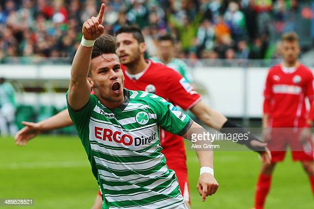Zoltan Stieber of Greuther Fuerth celebrates his team's second goal during the Second Bundesliga match between Greuther Fuerth and SV Sandhausen at...