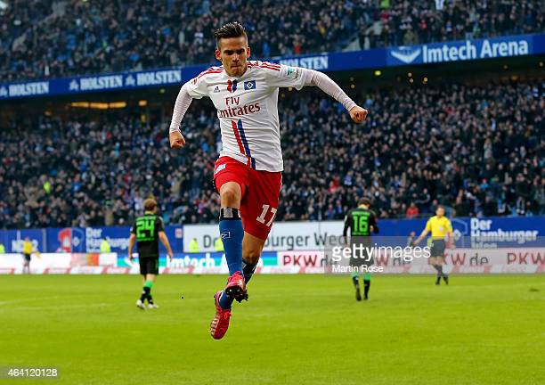 Zoltan Stieber of Hamburg celebrates after scoring the opening goal during the Bundesliga match between Hamburger SV and Borussia Moenchengladbach at...