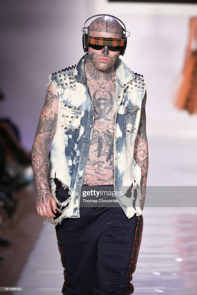 Zombie Boy walks the runway at the Tumbler And Tipsy By Michael Kuluva Fashion Show At CONAIR STYLE360 at STYLE360 presented by Conair Fashion Pavilion on February 12, 2013 in New York City.