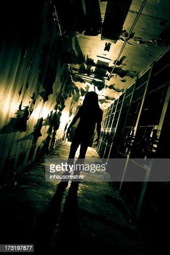 Zombie Creature in long dark corridor