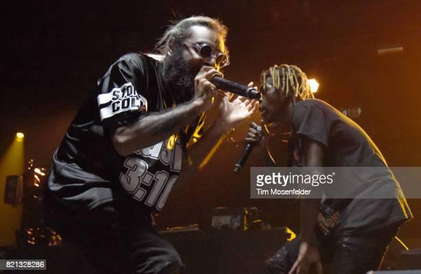 Zombie Juice and Meechy Darko of Flatbush Zombies perform at Bill Graham Civic Auditorium on July 22 2017 in San Francisco California