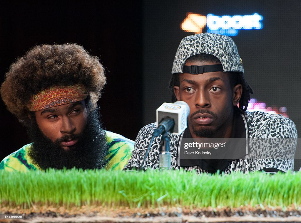 Zombie Juice and Meechy Darko of The Flatbush Zombies attend the Rock The Bells 2013 press conference and launch party at Highline Ballroom on June 24, 2013 in New York City.