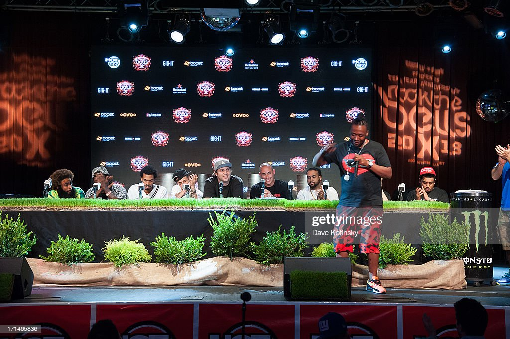 Zombie Juice, Meechy Darko and Erick Arc Elliott of The Flatbush Zombies, Pretty Lights, Chang Weisberg, Bodega Bamz, Immortal Technique and Chris 'Broadway' Romero attend the Rock The Bells 2013 press conference and launch party at Highline Ballroom on June 24, 2013 in New York City.