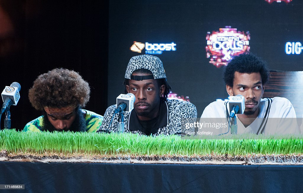 Zombie Juice, Meechy Darko and Erick Arc Elliott of The Flatbush Zombies attend the Rock The Bells 2013 press conference and launch party at Highline Ballroom on June 24, 2013 in New York City.