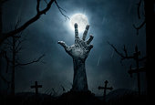 Halloween concept, dead man's hand coming out from the grave