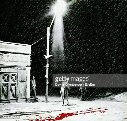 Zombies On Bloodshed Street During Snowstorms At Night