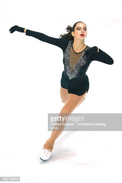 Zona Apostolovic of Serbia skates during the junior ladies free skating of the ISU Junior Grand Prix at Dom Sportova on October 10 2015 in Zagreb...